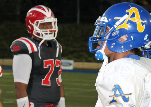 Frank Martin and Trevon Sidney during captain's coin toss prior to Bishop Amat vs Mater Dei